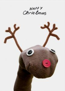 Reindeer sock puppet. Thought you might like this Shelley!