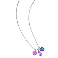 JUNIOR CLUSTER NECKLACE #12172 $12.00 The perfect necklace for every Girl Scout Junior! Silvertone chain necklace with three adorable charms including a pink striped heart, an oval Junior Shorthand and a blue and purple butterfly. Imported.
