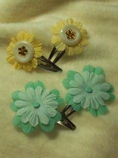 Items similar to 2 Sets of Very Adorable Buttercup and Teal Hair Clips on Etsy Teal Hair, 2 Set, Buttercup, Outdoor Gardens, Hair Clips, Hair Accessories, Crafty, Trending Outfits, Unique Jewelry
