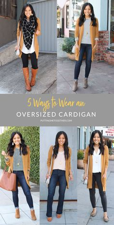 5 Ways to wear an oversized cardigan con botines 5 Ways to Wear an Overszied Cardigan This Fall - Tan Cardigan Casual Work Outfits, Business Casual Outfits, Mode Outfits, Fashion Outfits, Outfits With Black Jeans, Black Jeans Outfit Winter, Everyday Casual Outfits, Black Vest, Work Attire