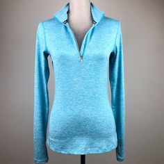 My Nike Running Blue Heathered 1 2 Zip Pullover Top Workout Athletic Yoga  by Nike 5f2ae624bb51