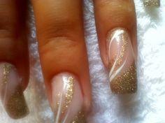 gold glitter with white flicks