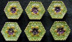 6 Czech Vaseline/Uranium Glass Buttons