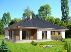 Wizualizacja HG-H7G CE Modern Bungalow House, Model House Plan, Modern Farmhouse Exterior, Dream House Exterior, Facade House, Better Homes, House Floor Plans, New Homes, Outdoor Structures