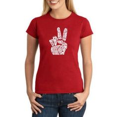 Los Angeles Pop Art Juniors' THE 70'S Word Art Graphic Tee, Size: XS, Red