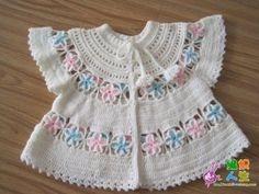 "Baby jacket [ ""International Crochet Patterns, crocheted set for baby with round yoke. Crochet Bebe, Baby Girl Crochet, Crochet For Kids, Crochet Yarn, Crochet Children, Crochet Flower, Irish Crochet, Crochet Baby Sweaters, Crochet Baby Clothes"
