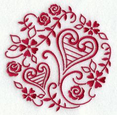 Simply Sweethearts, machine embroidery with red thread.