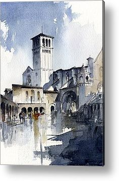 Assisi Painting by Tony Belobrajdic Watercolor City, Watercolor Sketch, Watercolor Landscape, Watercolour Painting, Painting & Drawing, Watercolors, Art Aquarelle, Watercolor Architecture, Urban Sketching