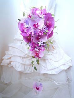 Bouquet de mariée fleur artificielle teardrop cascade et la boutonnière jasmin orchidée parme violet rose perle (ref,bouquet-t005) : Autres accessoires par fleur-angelique