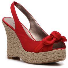 Moda Spana Heidi Wedge Sandal - Red found on Polyvore