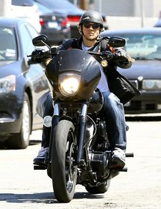 Charlie Hunnam arriving to the set of 'Sons Of Anarchy' in Los Angeles, California on his motorcycle on June 4, 2014.