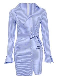 Hello pretty upgrade your spring fashion with this Blue Shirt Dress Striped Bodycon Casual Dress. Blue Shirt Dress, Striped Dress, Bodycon Outfits, Bodycon Dress, Look Chic, Chic Outfits, Fashion Dresses, Blue Design, Long Sleeve