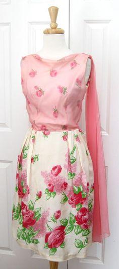 Vintage 1950's Pink Floral Print Silk Dress