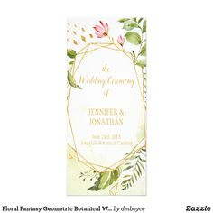 Floral Fantasy Geometric Botanical Wedding Program