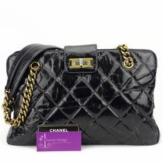 #Chanel Mademoiselle buckle Shopping Tote Black Colour Patent/Distressed Leather With Matt Gold Hardware Good Condition ref.code-(CRCE-3)