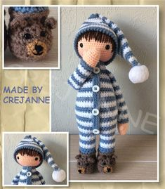 Sven in pajamas from grandfather's period. Digital Product: Requires a program that can open . Pattern is in English using crochet terminology from the United Kingdom. Doll Amigurumi Free Pattern, Crochet Doll Pattern, Crochet Patterns Amigurumi, Amigurumi Doll, Knitted Dolls, Crochet Dolls, Crochet Hats, Dou Dou, Cute Crochet