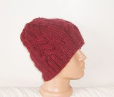 Men's or Teen's Hat in Burgundy Cable Hand Knitted by earflaphats, $45.00