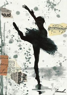 Print Art Ink Drawing Ballet Art Painting Illustration Gift Ballerina Autographed Emanuel M. Ologeanu