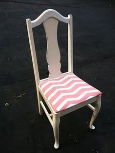 painted antique chari wiht pink for little girls room or desk chair so awesome. if you could find little chairs for little children and a table you could do the chairs with the pattern and mabye the top a different patern. INSTANT tea party table and chairs.