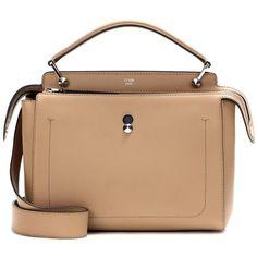 Fendi DotCom Leather Shoulder Bag (€2.240) ❤ liked on Polyvore featuring bags, handbags, shoulder bags, neutrals, leather shoulder bag, genuine leather purse, shoulder bag purse, fendi and leather handbags