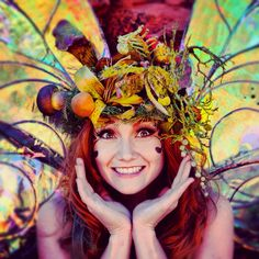 Smile! and I am in love with this headdress! mushrooms are too cute!