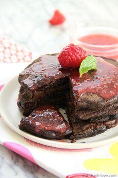 Dark Chocolate Pancakes with Raspberry Sauce