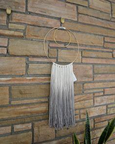 Handmade hand dyed white & gray ombré organic wool fiber art wall hanging on…