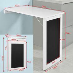 SoBuy®Mesa plegable de pared, escritorio para fijar en la pared, con pizarra frontal ,blanco,FWT20-W,ES