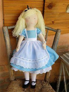 Alice In Wonderland, Alice, Wonderland, Alice In Wonderland Handmade Doll, Alice In Wonderland Fabri