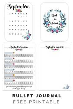 Bullet Journal - Free Printable Trackers - Septembre - Back to school