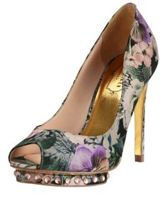 364bdf9b79d4 Ted Baker Leonar Floral Diamante Peep Toe Shoes
