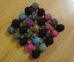 Felt Crafts, Diy And Crafts, Handicraft Ideas, Crochet Necklace, Glitter, Crafty, Wool, Felting, Sequins