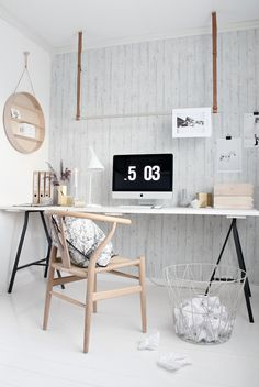 Check Out 25 Chic Scandinavian Home Office Designs. Scandinavian design is extremely popular now, so why not choose this style for your home office decor? Home Office Inspiration, Workspace Inspiration, Interior Inspiration, Office Ideas, Interior Ideas, Modern Interior, Desk Inspo, Office Inspo, Interior Office