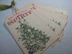 Handmade Vintage Style Gift Tags - The Christmas Spirit