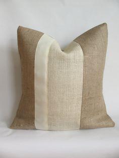 Burlap Fabric, Burlap Pillows, Decorative Pillows, Aqua Throw Pillows, Monochromatic Color Scheme, Cool Curtains, Handmade Pillow Covers, Grosgrain Ribbon, Cushion Covers