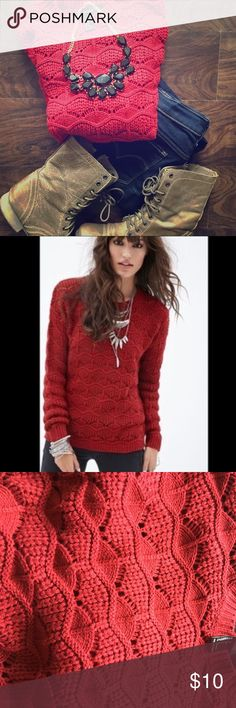 Like new Crimson red knit  sweater from Forever 21 Like new! Worn once, it's just too large in the arms. It appears to have that thicker sweater look, but it is not. Open patten throughout the sweater. Pair this with a cute pair of booties for a fabulous weekend look! Forever 21 Sweaters Crew & Scoop Necks
