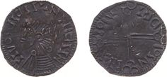 Hiberno-Scandinavian or Hiberno-Norse imitation of Aethelred II long cross penny (type North 9-11 S. 151) - Obv. Bare-headed bust left, blundered legend / Rev. Voided long cross, blundered legend - 1.78 g - almost XF, on both sides Viking punchmarks ('pecks') - very rare