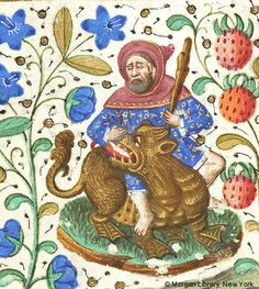 Book of Hours, MS M.282 fol. 21r - hooded man, holding club in left hand, seated astride fantastic animal with webbed feet.