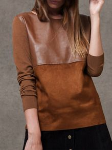 Camel PU Leather Color Block T-Shirt