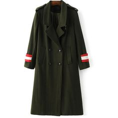 Military Style Wool Blend Coat (97 BAM) ❤ liked on Polyvore featuring outerwear, coats, military coat, wool blend coat, military style coat and wool blend military coat