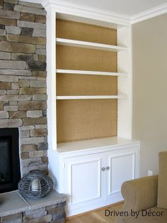 Decorating back panel of bookcase- here they used burlap and upholstery tacks! DIY Project: Burlap Backed Bookcases - Driven by Decor Decorating Your Home, Diy Home Decor, Holiday Decorating, Decorating Tips, Room Decor, Diy Regal, Driven By Decor, Built In Bookcase, Bookcase Redo