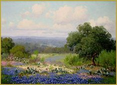 """Porfirio Salinas """"Springtime in Texas"""" Oil on Canvas, x (Private Collection) City Landscape, Landscape Paintings, Texas Bluebonnets, Paintings I Love, Blue Bonnets, Country Art, Landscape Pictures, Illustrations, Painting Inspiration"""