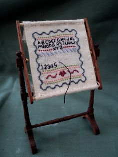 Miniature Embroidery Frame with Cross Stitch Sampler