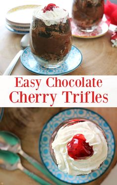 Easy Chocolate Cherry Trifles! See how EASY it is to make these chocolate cherry trifles with cake, pudding and a secret ingredient!