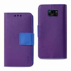 Reiko Samsung Galaxy S7 Edge Wallet Case 3 In 1-Purple With Interior Leather Polymer And Stand Function