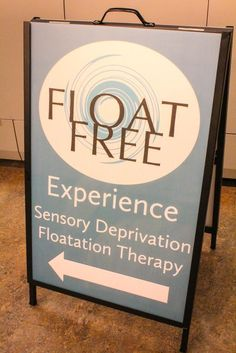 Metal a-frame sandwich board for @FloatFreeSpa - specialists in flotation therapy.
