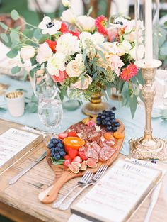 Whimsical garden wedding table decor: http://www.stylemepretty.com/2017/04/06/a-whimsy-filled-watercolor-ranch-wedding/ Photography: The Great Romance - http://thegreatromancephoto.com/