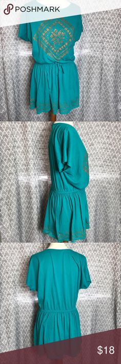 Drawstring Top Gorgeous teal color with gold accented designs. Drawstring waist for a romper-like look. Chaps Tops