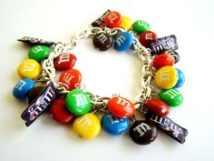 handmade mm's inspired bracelet, DIY, polymer clay, food, candies, cute, miniature, idea, charm, bracelet