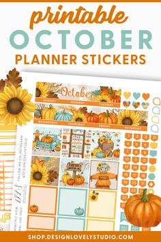 October Monthly Planner Kit, October Monthly Printable, Halloween Planner Printable, for Erin Condren Life Planner, Cut Files Erin Condren Life Planner, Monthly Planner, Happy Planner, Printable Planner Stickers, Printables, Pumpkin Farm, Silhouette Machine, Layout Inspiration, Layouts